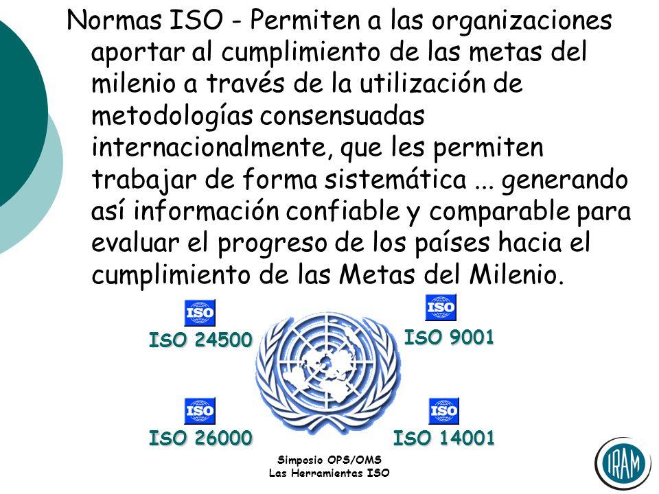 Simposio OPS/OMS Las Herramientas ISO Normas ISO - Permiten a las organizaciones aportar al cumplimiento de las metas del milenio a través de la utili