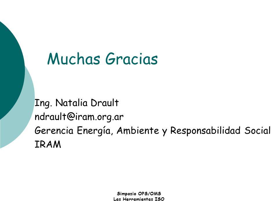 Simposio OPS/OMS Las Herramientas ISO Muchas Gracias Ing. Natalia Drault ndrault@iram.org.ar Gerencia Energía, Ambiente y Responsabilidad Social IRAM