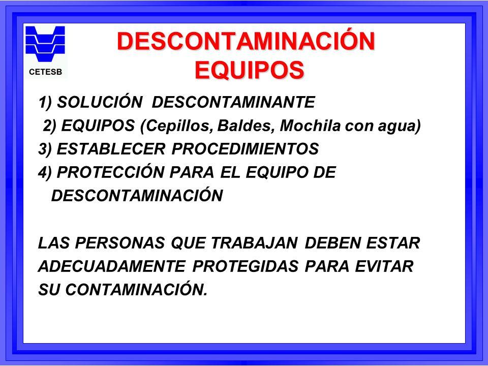 DESCONTAMINACIÓN EQUIPOS 1) SOLUCIÓN DESCONTAMINANTE 2) EQUIPOS (Cepillos, Baldes, Mochila con agua) 3) ESTABLECER PROCEDIMIENTOS 4) PROTECCIÓN PARA E