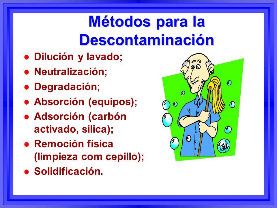 Métodos para la Descontaminación l Dilución y lavado; l Neutralización; l Degradación; l Absorción (equipos); l Adsorción (carbón activado, silica); l