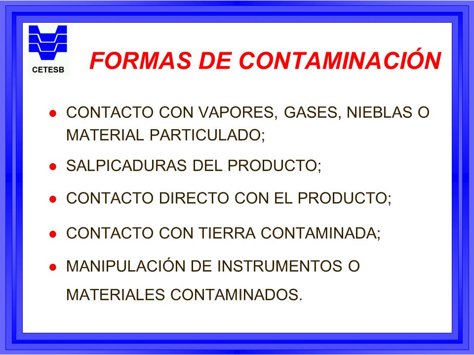 DESCONTAMINACIÓN EQUIPOS 1) SOLUCIÓN DESCONTAMINANTE 2) EQUIPOS (Cepillos, Baldes, Mochila con agua) 3) ESTABLECER PROCEDIMIENTOS 4) PROTECCIÓN PARA EL EQUIPO DE DESCONTAMINACIÓN LAS PERSONAS QUE TRABAJAN DEBEN ESTAR ADECUADAMENTE PROTEGIDAS PARA EVITAR SU CONTAMINACIÓN.