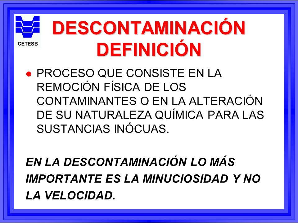 DESCONTAMINACIÓN PROCEDIMIENTOS l PARA PRODUCTOS LIGERAMENTE TÓXICOS; l PARA PRODUCTOS DE TOXICIDAD MEDIA; l PARA PRODUCTOS DE ALTA TOXICIDAD.