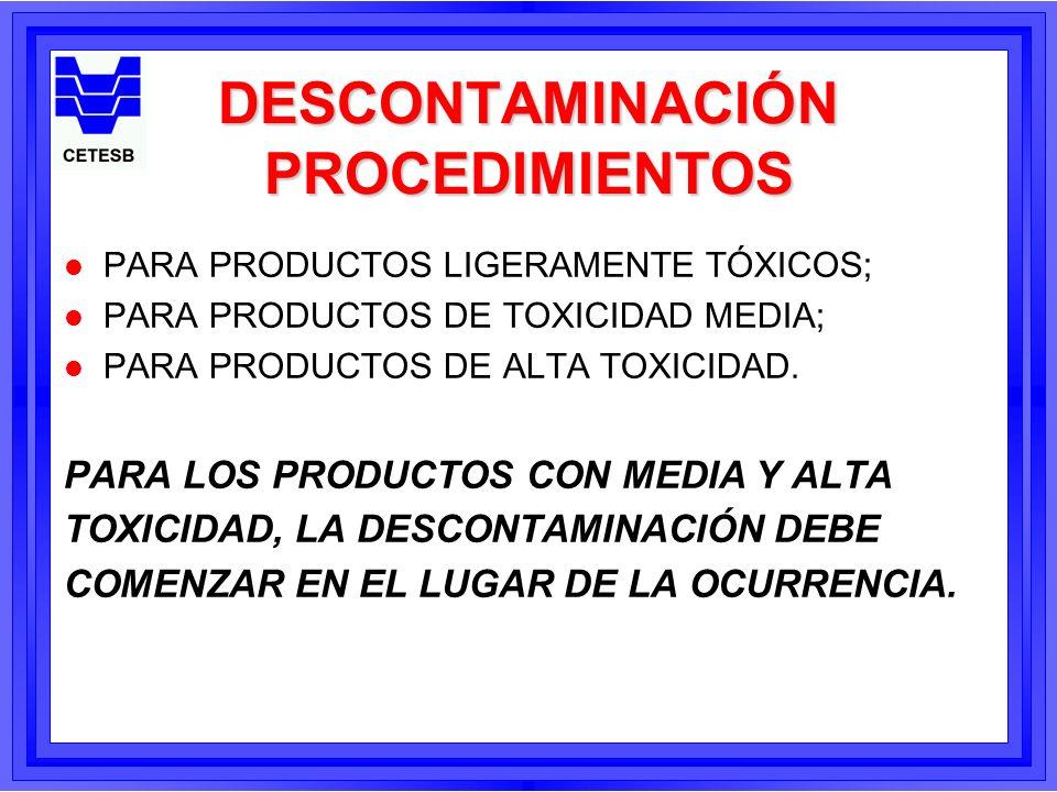 Métodos para la Descontaminación l Dilución y lavado; l Neutralización; l Degradación; l Absorción (equipos); l Adsorción (carbón activado, silica); l Remoción física (limpieza com cepillo); l Solidificación.