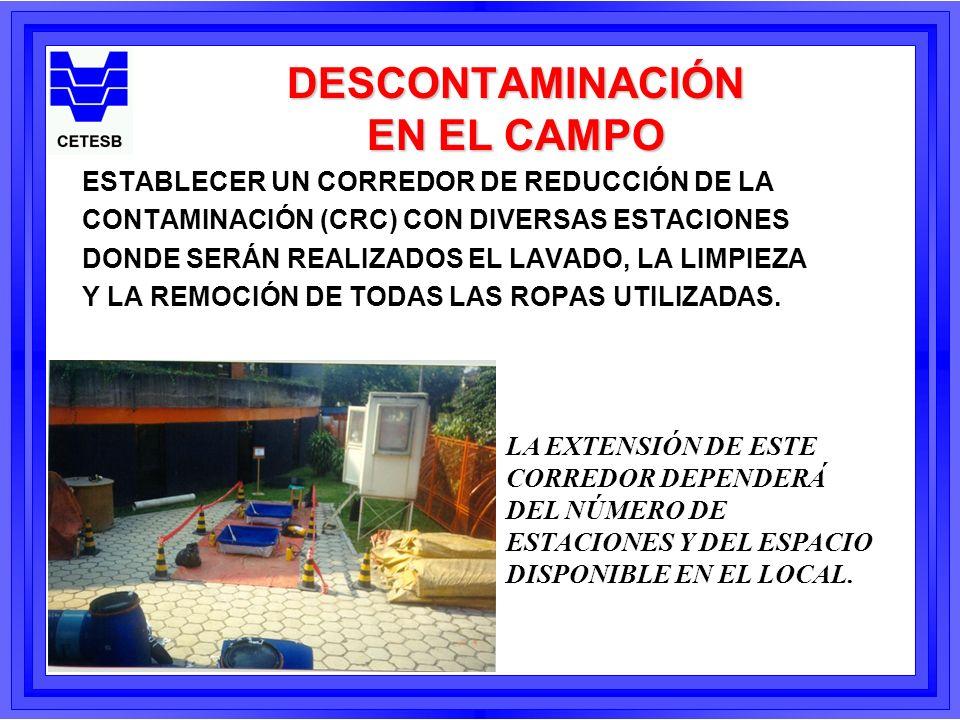 DESCONTAMINACIÓN EN EL CAMPO l EL TRABAJO COMIENZA EN LA PRIMERA ESTACIÓN CON LOS EQUIPOS DE PROTECCIÓN MÁS CONTAMINADOS (LOS GUANTES Y LAS BOTAS), SIENDO LAS ESTACIONES POSTERIORES PARA LA DESCONTAMINACIÓN DE LOS ARTÍCULOS MENOS CONTAMINADO.