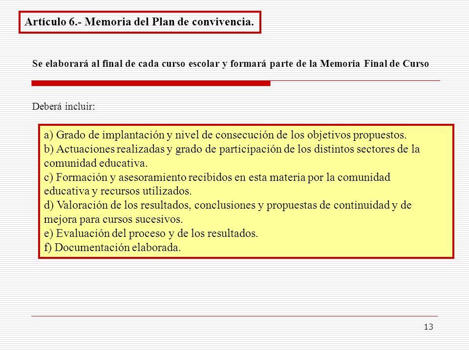 13 Artículo 6.- Memoria del Plan de convivencia. a) Grado de implantación y nivel de consecución de los objetivos propuestos. b) Actuaciones realizada