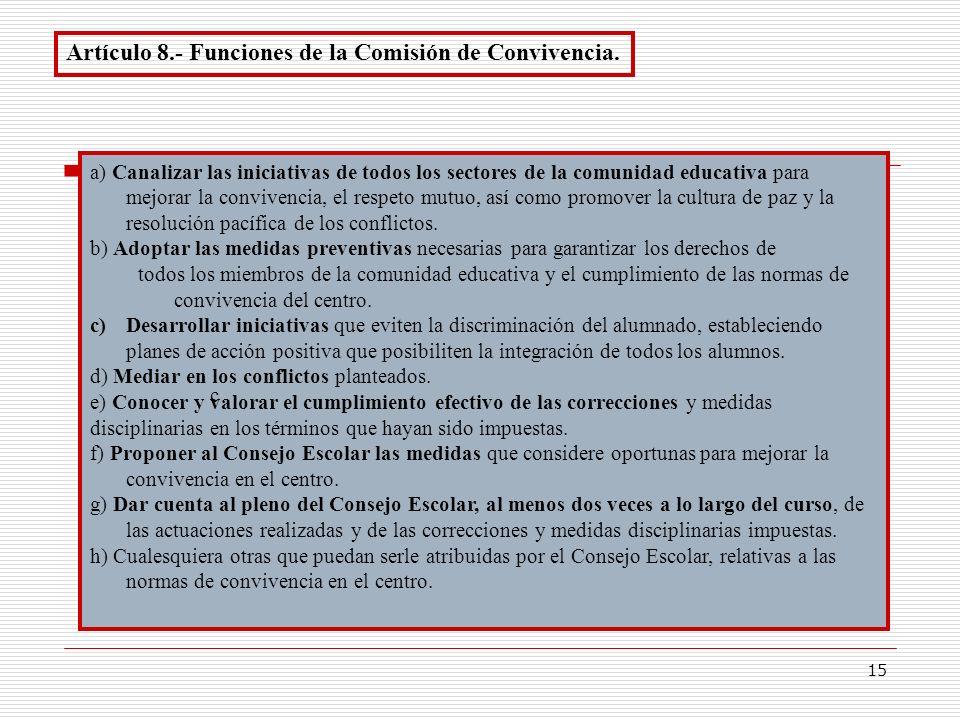 15 Artículo 8.- Funciones de la Comisión de Convivencia. a) Canalizar las iniciativas de todos los sectores de la comunidad educativa para mejorar la