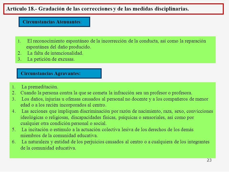23 Artículo 18.- Gradación de las correcciones y de las medidas disciplinarias. Circunstancias Atenuantes: 1. El reconocimiento espontáneo de la incor
