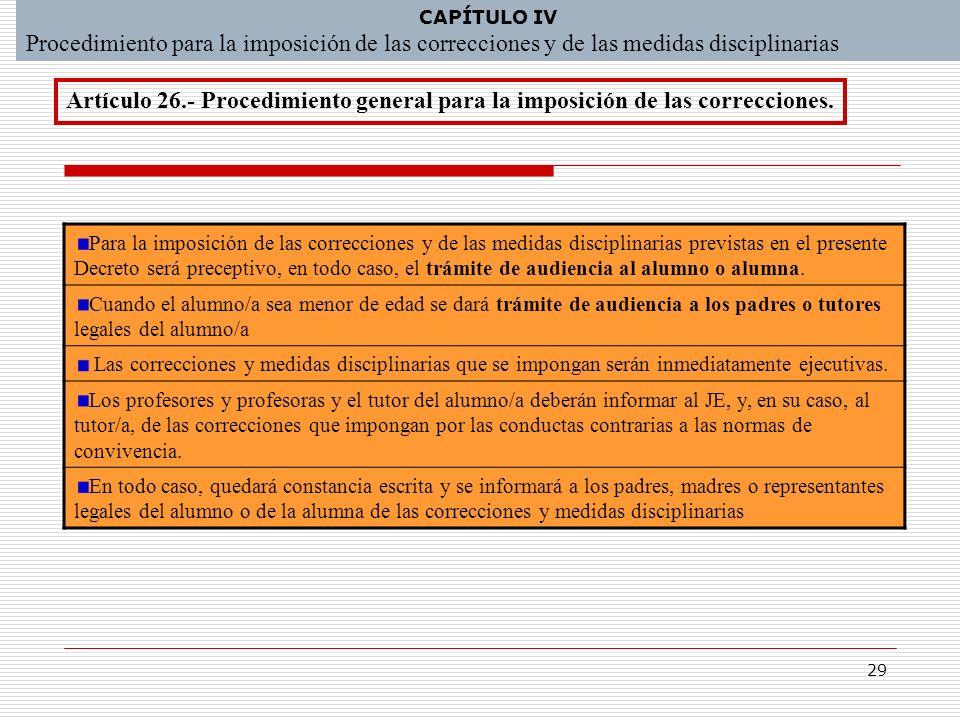 29 CAPÍTULO IV Procedimiento para la imposición de las correcciones y de las medidas disciplinarias Para la imposición de las correcciones y de las me