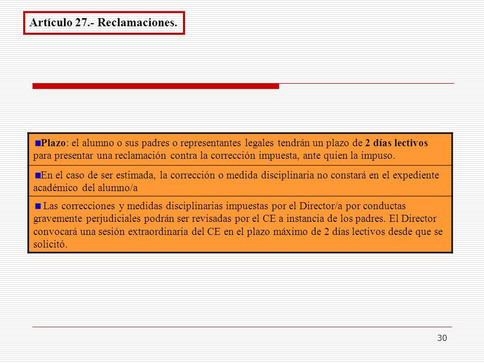 30 Artículo 27.- Reclamaciones. Plazo: el alumno o sus padres o representantes legales tendrán un plazo de 2 días lectivos para presentar una reclamac
