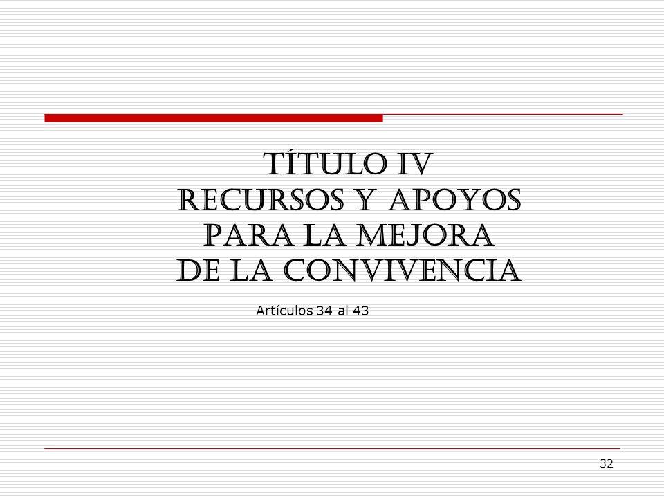 32 TÍTULO IV RECURSOS Y APOYOS PARA LA MEJORA DE LA CONVIVENCIA Artículos 34 al 43