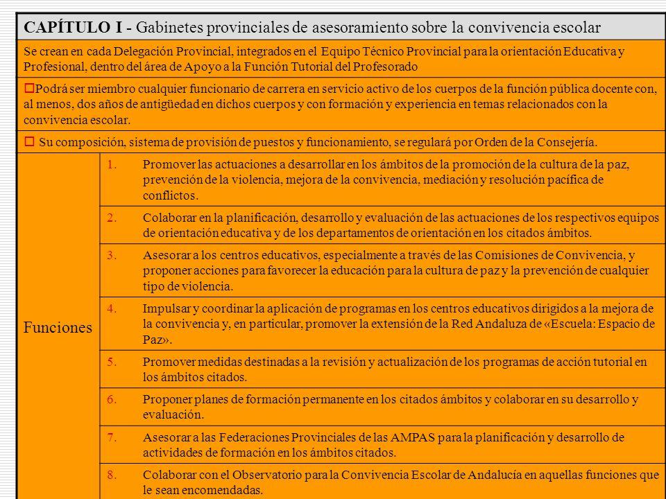 35 CAPÍTULO I - Gabinetes provinciales de asesoramiento sobre la convivencia escolar Se crean en cada Delegación Provincial, integrados en el Equipo T