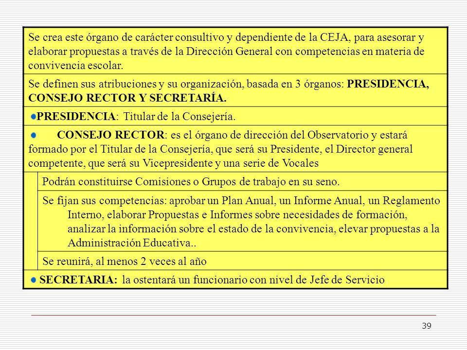 39 Se crea este órgano de carácter consultivo y dependiente de la CEJA, para asesorar y elaborar propuestas a través de la Dirección General con compe