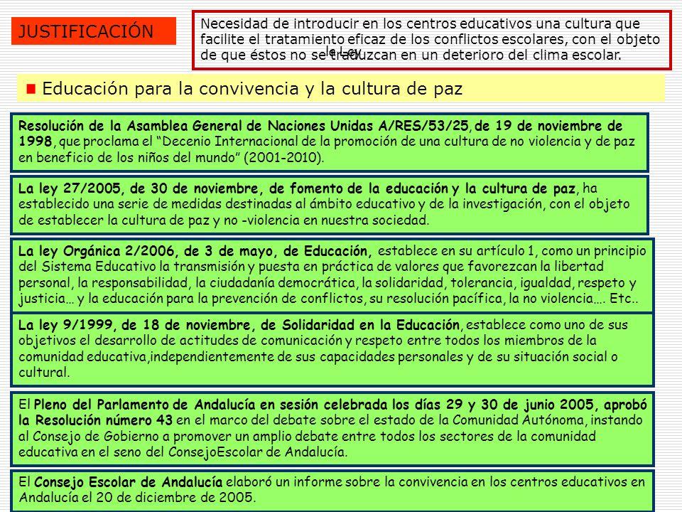 4 JUSTIFICACIÓN Necesidad de introducir en los centros educativos una cultura que facilite el tratamiento eficaz de los conflictos escolares, con el o