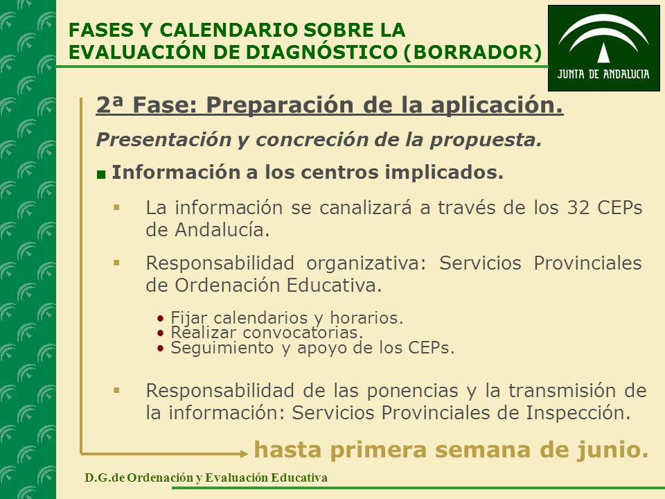 2ª Fase: Preparación de la aplicación. Presentación y concreción de la propuesta. Información a los centros implicados. FASES Y CALENDARIO SOBRE LA EV