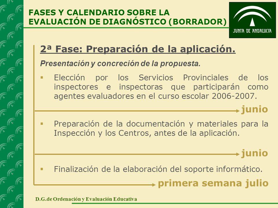 2ª Fase: Preparación de la aplicación. Presentación y concreción de la propuesta. Elección por los Servicios Provinciales de los inspectores e inspect