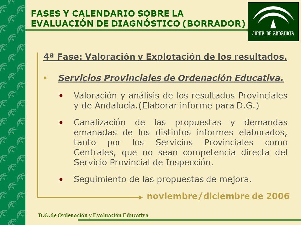 4ª Fase: Valoración y Explotación de los resultados. Servicios Provinciales de Ordenación Educativa. FASES Y CALENDARIO SOBRE LA EVALUACIÓN DE DIAGNÓS