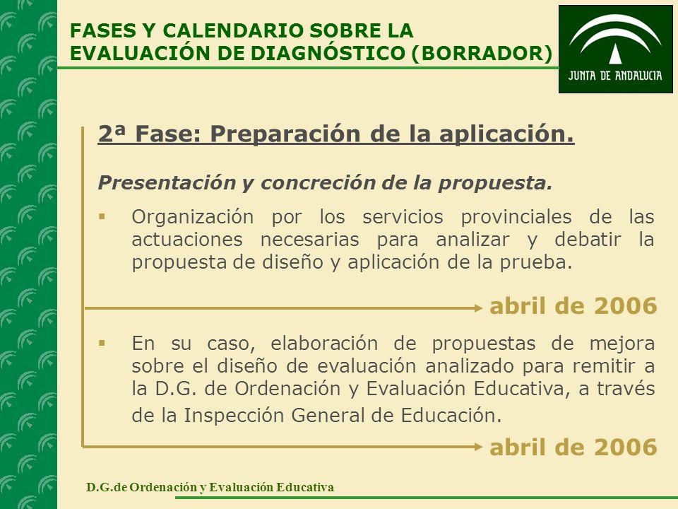 2ª Fase: Preparación de la aplicación. Presentación y concreción de la propuesta. Organización por los servicios provinciales de las actuaciones neces