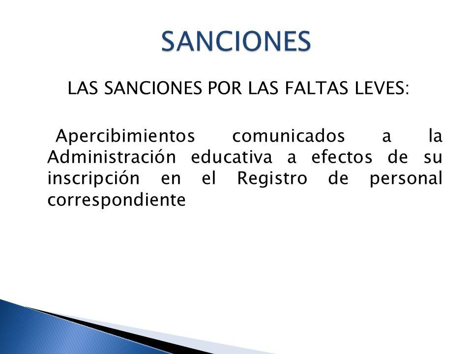 Infracciones leves: 6 meses PRESCRIPCIONES SANCIONES Faltas leves: 1 año (el plazo comienza desde la firmeza de la resolución )