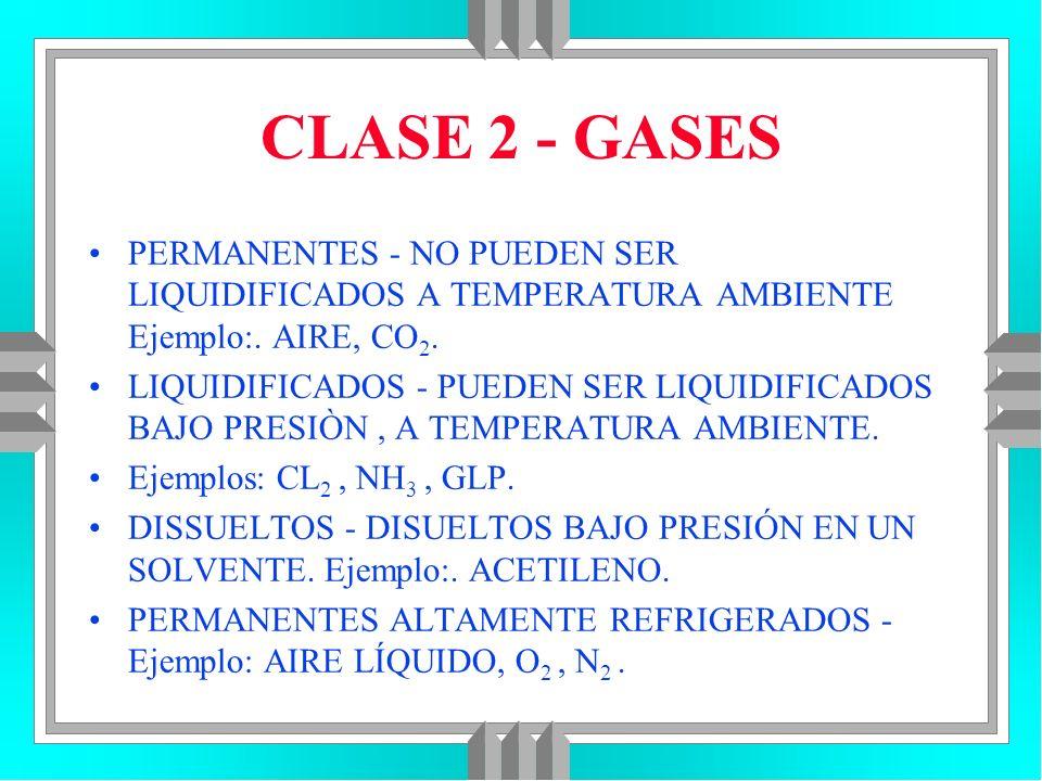CLASE 2 - GASES PERMANENTES - NO PUEDEN SER LIQUIDIFICADOS A TEMPERATURA AMBIENTE Ejemplo:. AIRE, CO 2. LIQUIDIFICADOS - PUEDEN SER LIQUIDIFICADOS BAJ