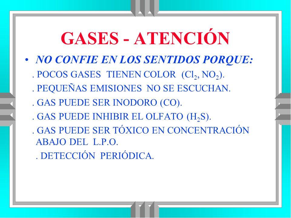 GASES - ATENCIÓN NO CONFIE EN LOS SENTIDOS PORQUE:. POCOS GASES TIENEN COLOR (Cl 2, NO 2 ).. PEQUEÑAS EMISIONES NO SE ESCUCHAN.. GAS PUEDE SER INODORO
