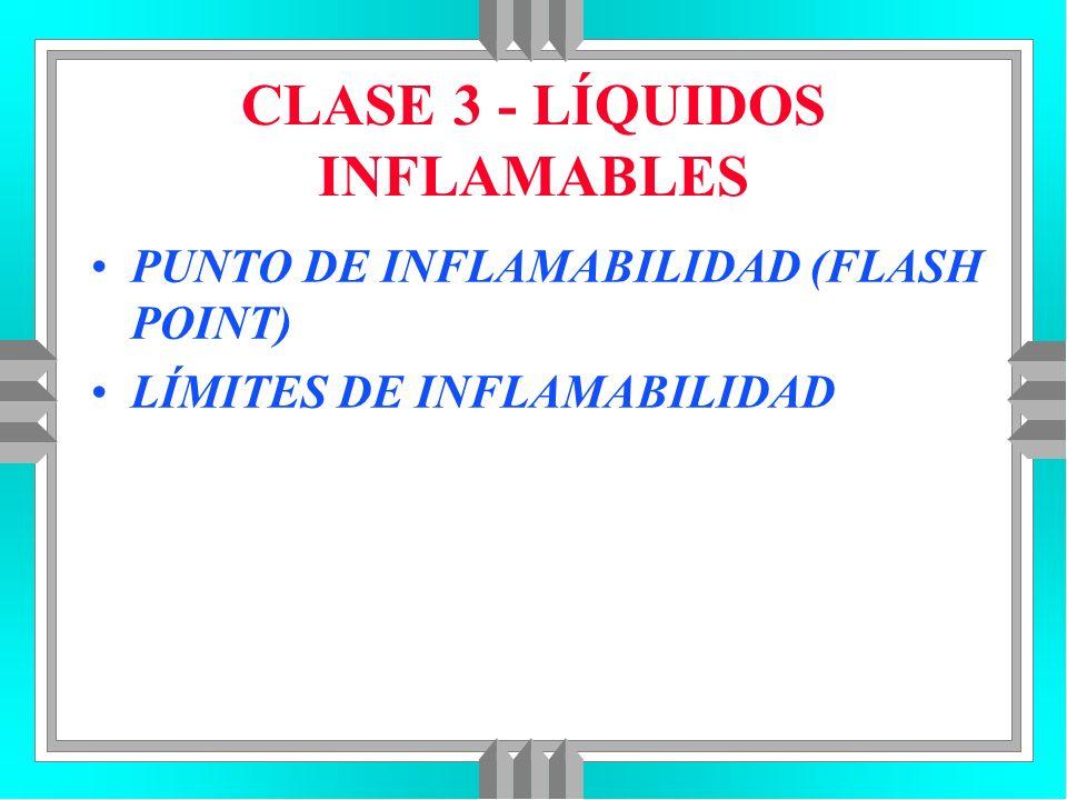 CLASE 3 - LÍQUIDOS INFLAMABLES PUNTO DE INFLAMABILIDAD (FLASH POINT) LÍMITES DE INFLAMABILIDAD