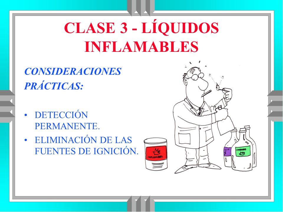 CLASE 3 - LÍQUIDOS INFLAMABLES CONSIDERACIONES PRÁCTICAS: DETECCIÓN PERMANENTE. ELIMINACIÓN DE LAS FUENTES DE IGNICIÓN.