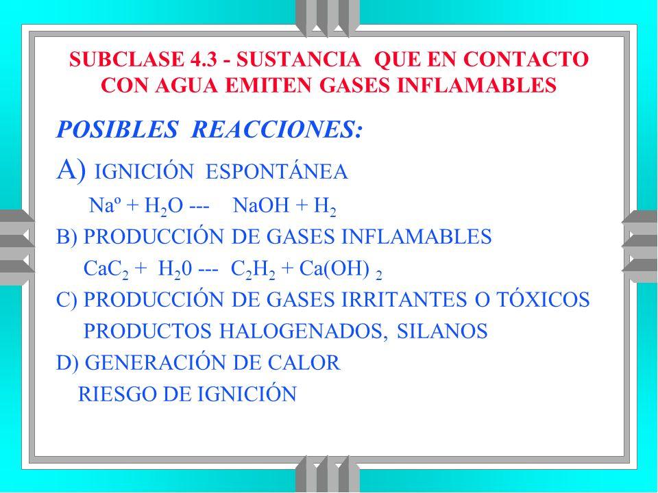 SUBCLASE 4.3 - SUSTANCIA QUE EN CONTACTO CON AGUA EMITEN GASES INFLAMABLES POSIBLES REACCIONES: A) IGNICIÓN ESPONTÁNEA Naº + H 2 O --- NaOH + H 2 B) P