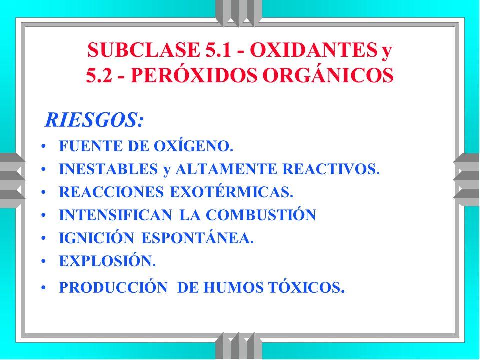 SUBCLASE 5.1 - OXIDANTES y 5.2 - PERÓXIDOS ORGÁNICOS RIESGOS: FUENTE DE OXÍGENO. INESTABLES y ALTAMENTE REACTIVOS. REACCIONES EXOTÉRMICAS. INTENSIFICA