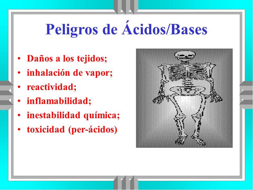 Peligros de Ácidos/Bases Daños a los tejidos; inhalación de vapor; reactividad; inflamabilidad; inestabilidad química; toxicidad (per-ácidos)