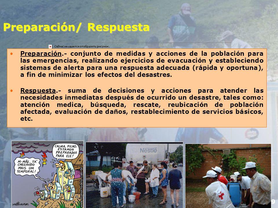 10 Rehabilitación/Reconstrucción Rehabilitación.- acciones que se realizan inmediatamente después del desastre, permitiendo recuperar los niveles de servicio que tenían antes de la ocurrencia del desastre.