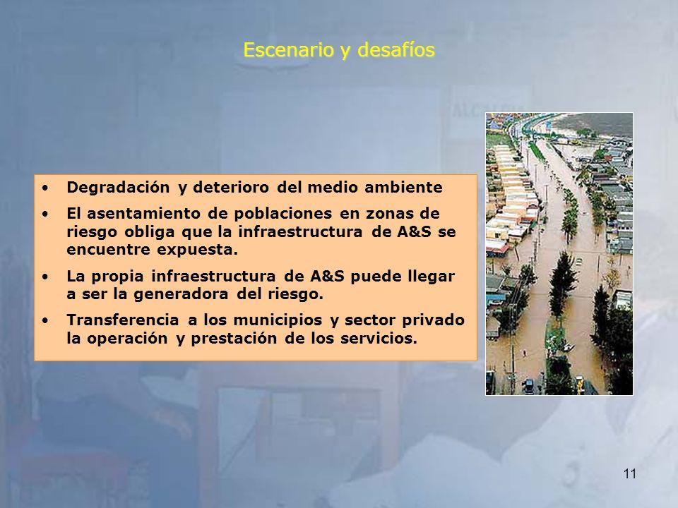 11 Degradación y deterioro del medio ambiente El asentamiento de poblaciones en zonas de riesgo obliga que la infraestructura de A&S se encuentre expu