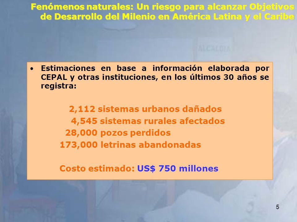 5 Fenómenos naturales: Un riesgo para alcanzar Objetivos de Desarrollo del Milenio en América Latina y el Caribe Estimaciones en base a información el