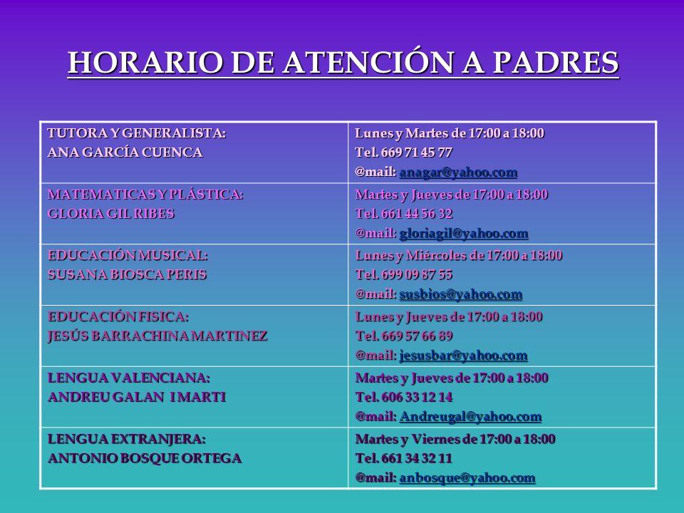 HORARIO DE ATENCIÓN A PADRES TUTORA Y GENERALISTA: ANA GARCÍA CUENCA Lunes y Martes de 17:00 a 18:00 Tel. 669 71 45 77 @mail: anagar@yahoo.com MATEMAT