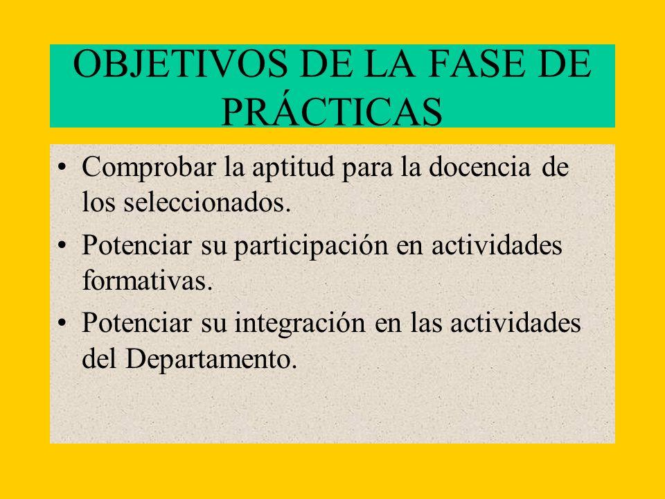 OBJETIVOS DE LA FASE DE PRÁCTICAS Comprobar la aptitud para la docencia de los seleccionados.