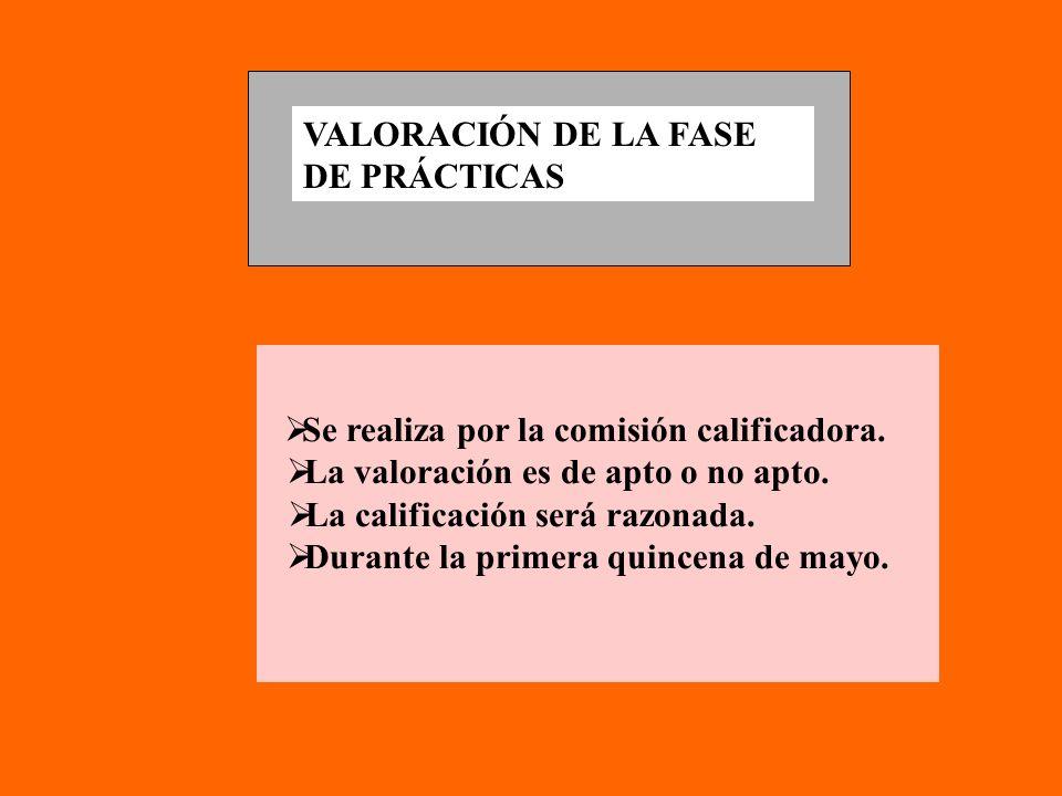 VALORACIÓN DE LA FASE DE PRÁCTICAS Se realiza por la comisión calificadora.