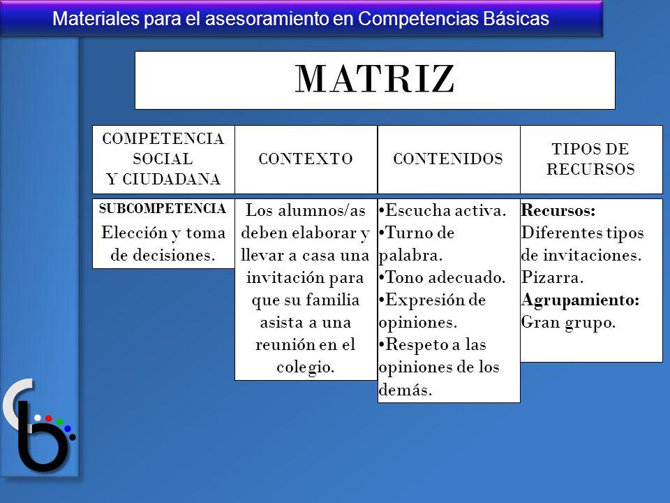 Materiales para el asesoramiento en Competencias Básicas MATRIZ TIPOS DE RECURSOS SUBCOMPETENCIA Elección y toma de decisiones. Los alumnos/as deben e
