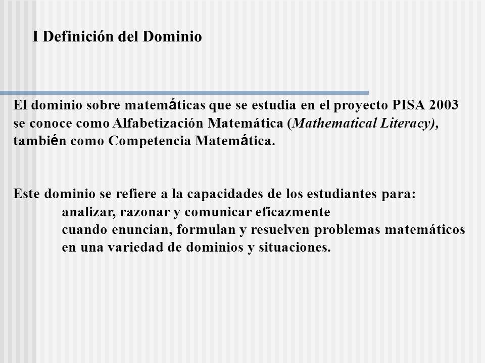 I Definición del Dominio El dominio sobre matem á ticas que se estudia en el proyecto PISA 2003 se conoce como Alfabetización Matemática (Mathematical