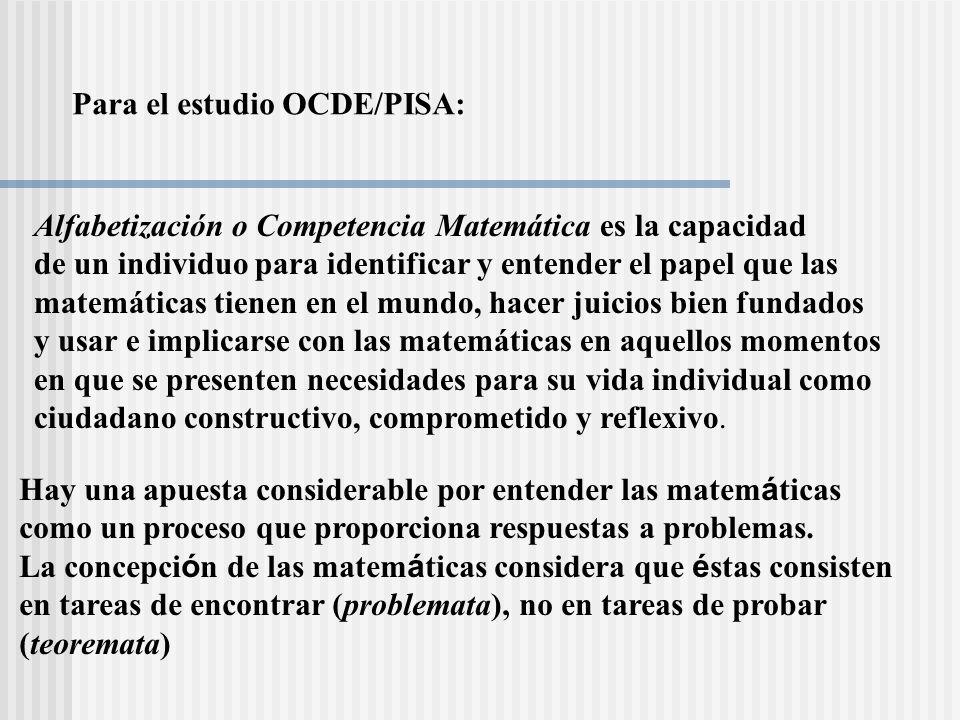 Para el estudio OCDE/PISA: Alfabetización o Competencia Matemática es la capacidad de un individuo para identificar y entender el papel que las matemá