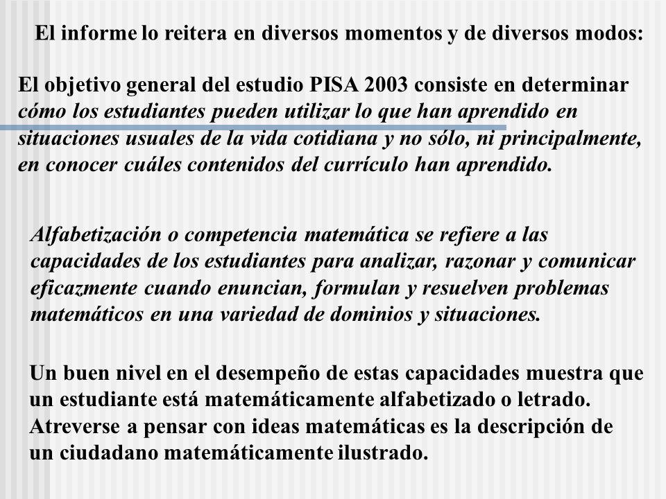El objetivo general del estudio PISA 2003 consiste en determinar cómo los estudiantes pueden utilizar lo que han aprendido en situaciones usuales de l