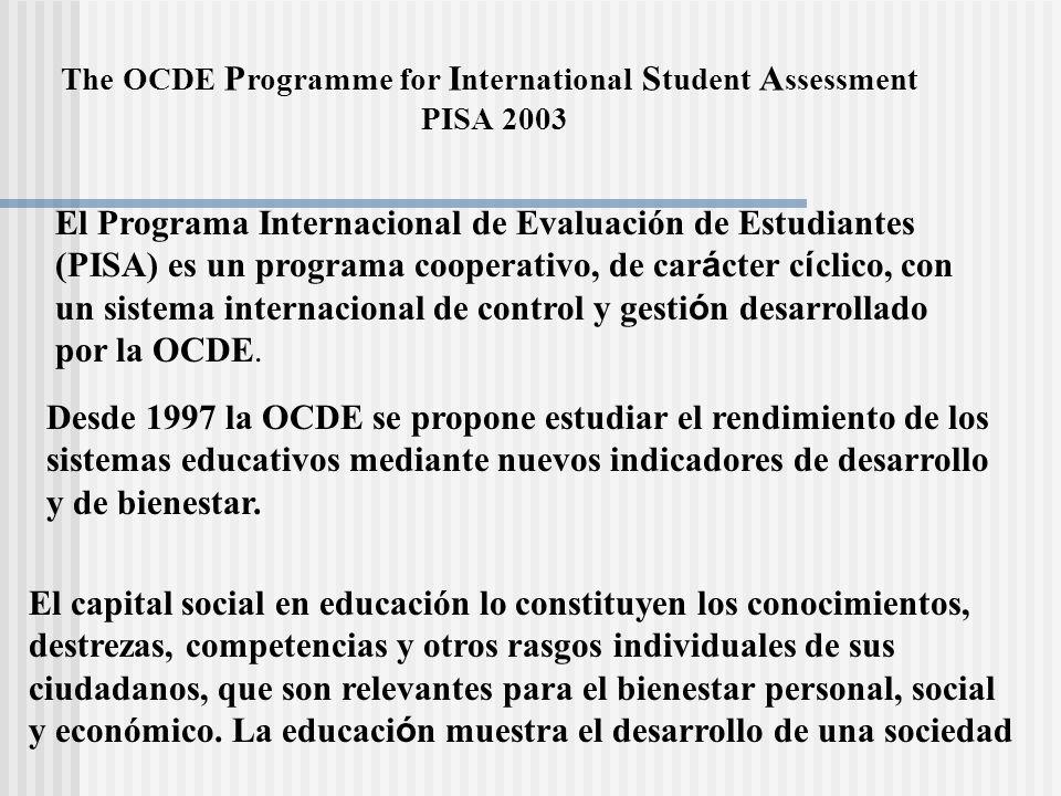 El Programa Internacional de Evaluación de Estudiantes (PISA) es un programa cooperativo, de car á cter c í clico, con un sistema internacional de con