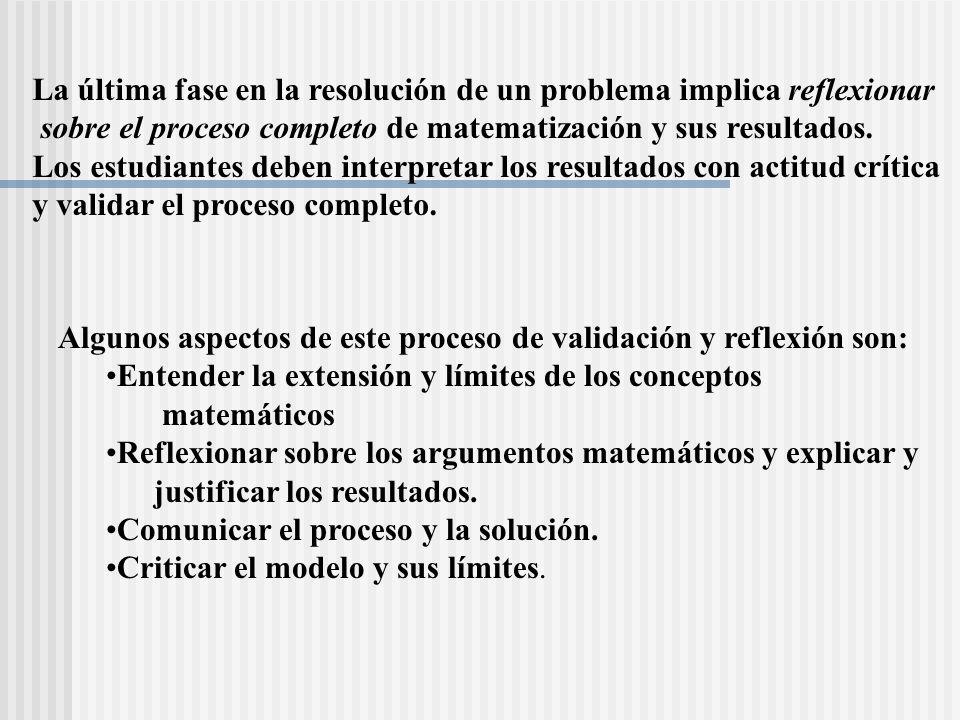 La última fase en la resolución de un problema implica reflexionar sobre el proceso completo de matematización y sus resultados. Los estudiantes deben