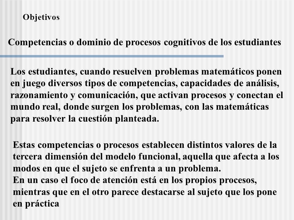 Competencias o dominio de procesos cognitivos de los estudiantes Los estudiantes, cuando resuelven problemas matemáticos ponen en juego diversos tipos