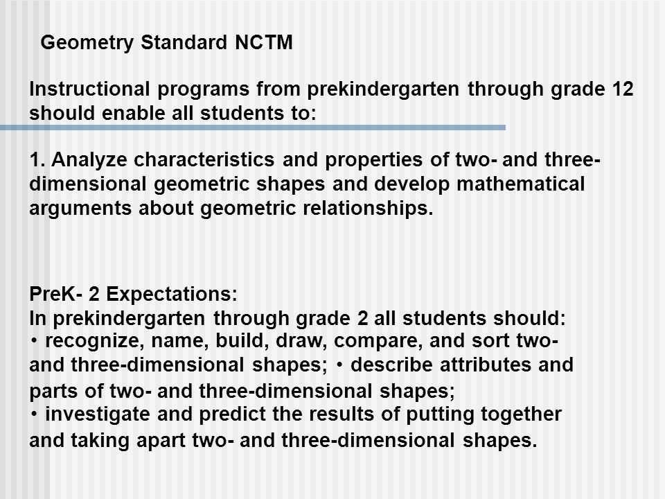 Instructional programs from prekindergarten through grade 12 should enable all students to: 1. Analyze characteristics and properties of two- and thre