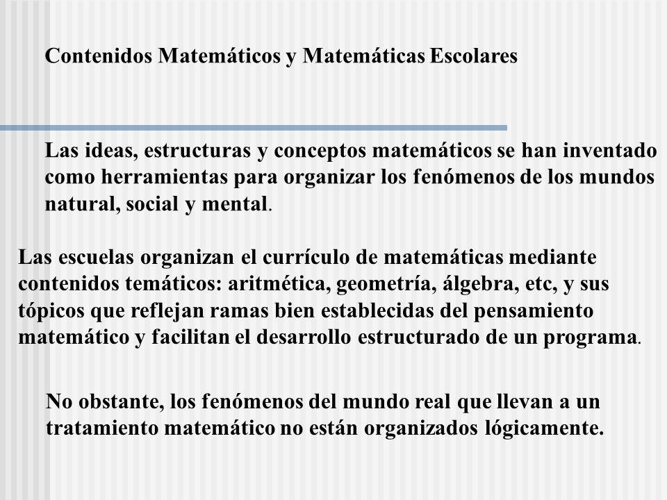 Contenidos Matemáticos y Matemáticas Escolares Las ideas, estructuras y conceptos matemáticos se han inventado como herramientas para organizar los fe