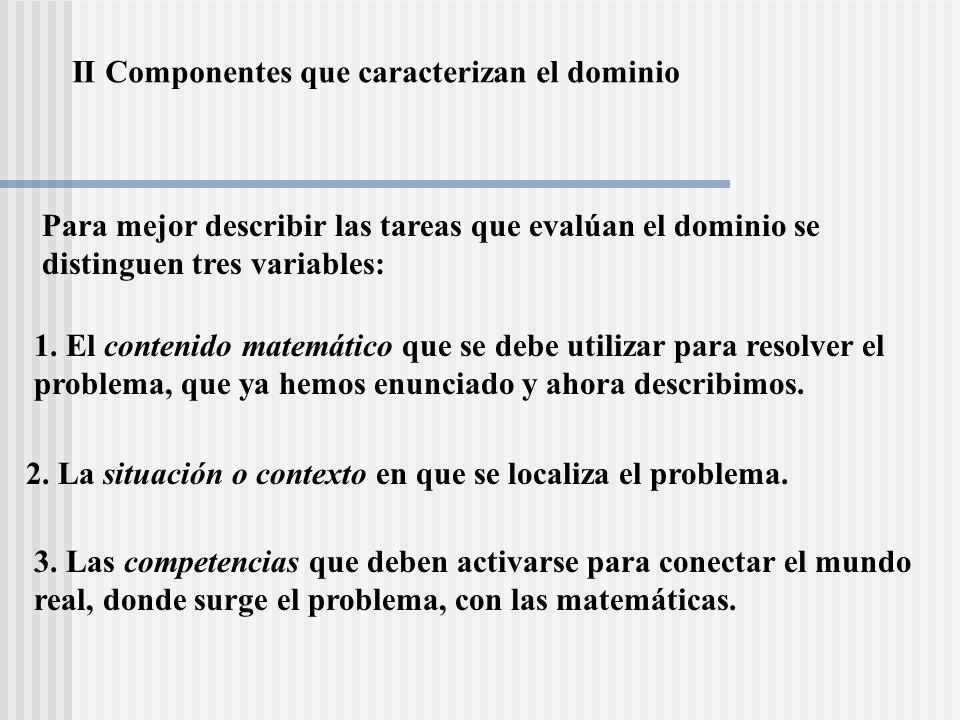 II Componentes que caracterizan el dominio 1. El contenido matemático que se debe utilizar para resolver el problema, que ya hemos enunciado y ahora d