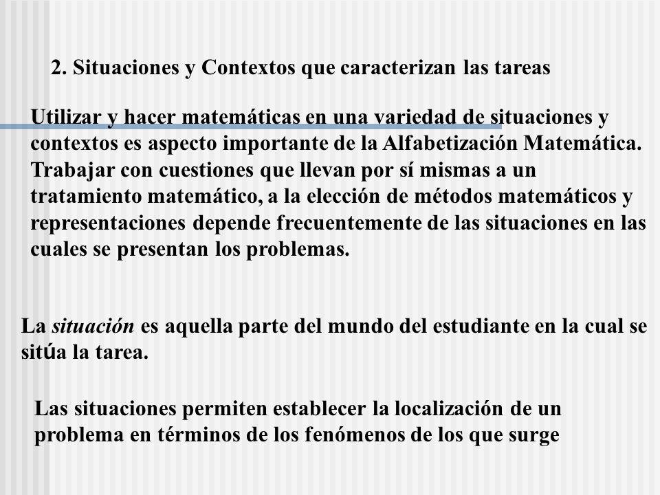 2. Situaciones y Contextos que caracterizan las tareas Utilizar y hacer matemáticas en una variedad de situaciones y contextos es aspecto importante d
