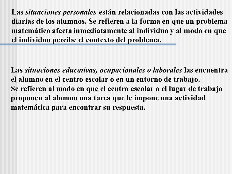 Las situaciones personales están relacionadas con las actividades diarias de los alumnos. Se refieren a la forma en que un problema matemático afecta
