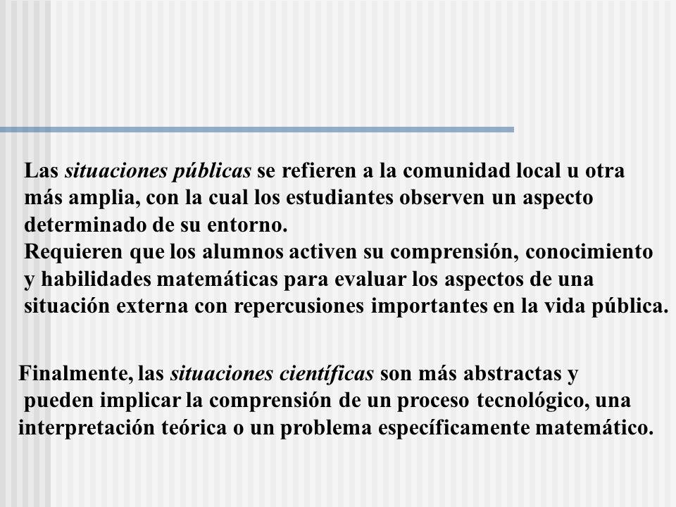 Las situaciones públicas se refieren a la comunidad local u otra más amplia, con la cual los estudiantes observen un aspecto determinado de su entorno