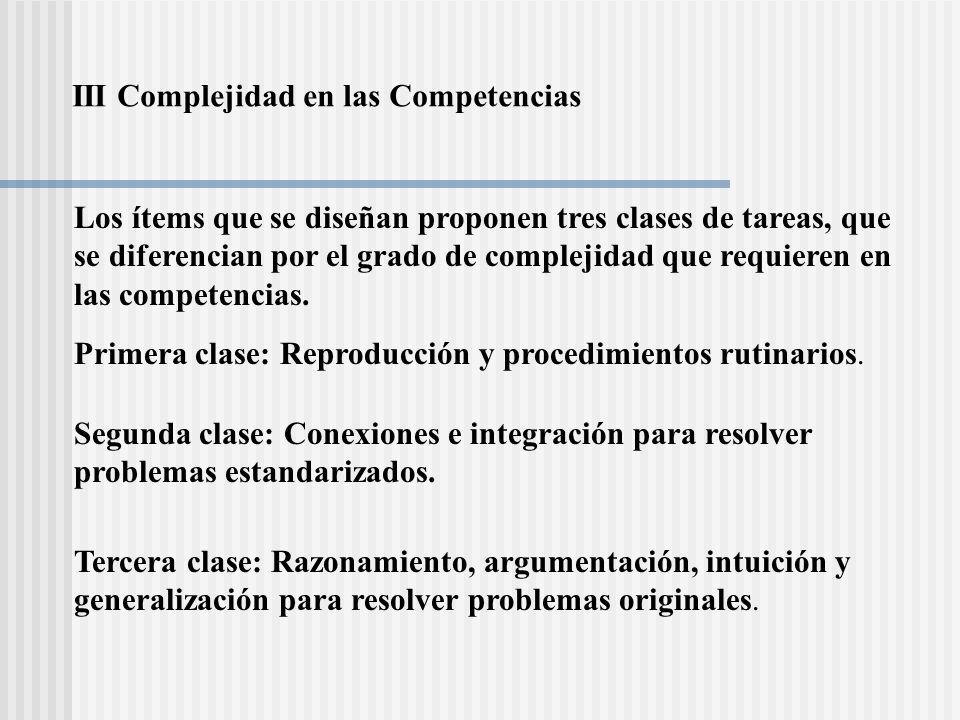 Los indicadores para la complejidad de las tareas en cada una de las categor í as se resumen en la siguiente tabla: REPRODUCCI Ó NCONEXI Ó NREFLEXI Ó N Contextos familiares Conocimientos ya practicados Aplicaci ó n de algoritmos est á ndar Realizaci ó n de operaciones sencillas Uso de f ó rmulas elementales.