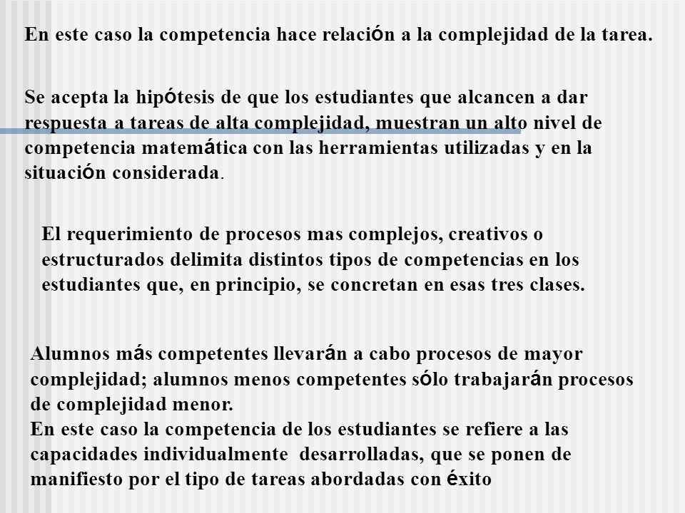 En este caso la competencia hace relaci ó n a la complejidad de la tarea. El requerimiento de procesos mas complejos, creativos o estructurados delimi